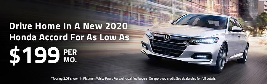Drive Home In A New 2020 Honda Accord For As Low As $199 Per Month.