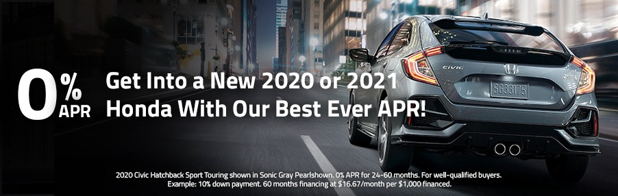 Get Into a New 2020 or 2021 Honda With Our Best Ever APR!
